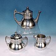 Antique R. STRICKLAND & CO. Triple Silverplate 3-Piece Ornate Tea Set #301