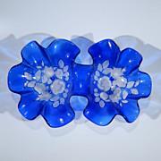 Vintage Cobalt Blue Art Glass Double Serving Bowl Ruffled Edges, Molded & Frosted Tulip Carnation Flowers & Leaves