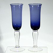"""Vintage Pair of GIBSON CRYSTAL """"Colonial"""" Cobalt Blue Sapphire Fluted Champagne Toasting Flutes"""