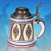 Vintage German Dutch Ceramic Pottery Ladies FLORAL ROSE Beer Stein Pink & Blue