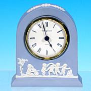 Vintage WEDGWOOD JASPERWARE Grecian Mantle Clock Light Blue 250th Anniversary