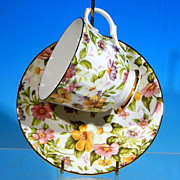 Vintage BETHANY China Floral Chintz Teacup & Saucer Set Staffordshire, England / Yellow, Pink, Lilac & Green