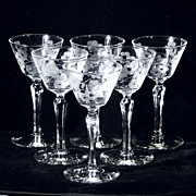 Etched Floral GLENMORE Sherbert / Sherbet Champagne Glass Stemware Libbey Rock Sharpe Set of Six (6)
