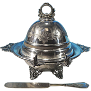 Antique English Silverplate Footed Dome Butter Dish WILLIAM MAMMATT & SONS Sheffield, England / WILCOX SILVERPLATE CO. Silver plate Newport Butter Spreader Knife