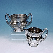 James W. Tufts Quadruple Silverplate Sugar Bowl & Creamer Set Silver Plate