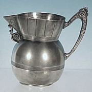 Antique The Hard White Metal Co. Triple Plate Silverplate Creamer Pitcher Silver Plate