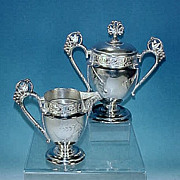 Antique Ornate Victorian E. G. WEBSTER Quadruple Silverplate Creamer & Sugar Bowl Set #701
