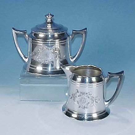 Antique F. B. ROGERS SILVER CO. Quadruple Silverplate Covered Sugar Bowl & Creamer Set - Monogram