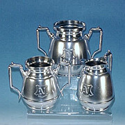 Antique Simpson Hall Miller Quadruple Silverplate Completer Tea Set - Sugar Bowl, Creamer & Waste Bowl