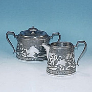 Walker & Hall Sheffield Silverplate Sugar Bowl & Creamer Set #11
