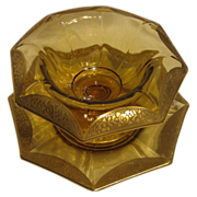 Tiffin Gold Encrusted Amber Octagonal Bowl & Plate