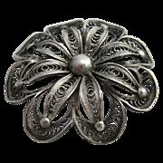 Silver Filigree Flower Pin Brooch