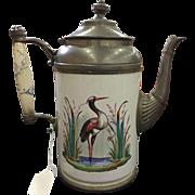 19th Century Graniteware & Pewter Coffee Pot / Teapot Heron Crane Excellent Condition
