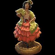Hubley #193 Spanish Lady / Girl Dancing w/ Fan Cast Iron Doorstop / Doorstop
