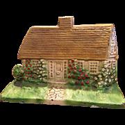 Gorgeous Vintage Cast Iron Cottage Doorstop Door Stop Mustard Roof #125 Great Original Paint