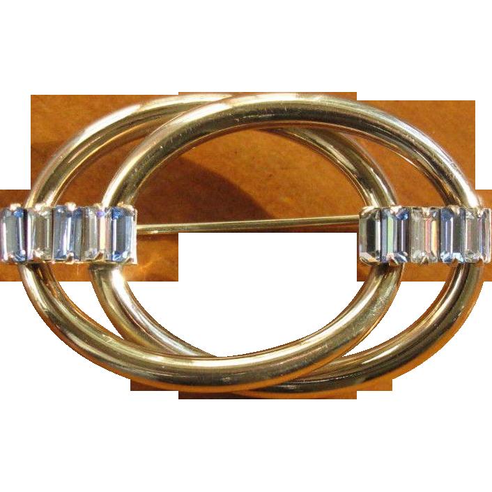 Vintage 1960's Carl Art Gold Filled Rhinestone Brooch