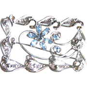 Vintage 1950's Am Lee Sterling Silver and Blue Rhinestone Filigree Brooch