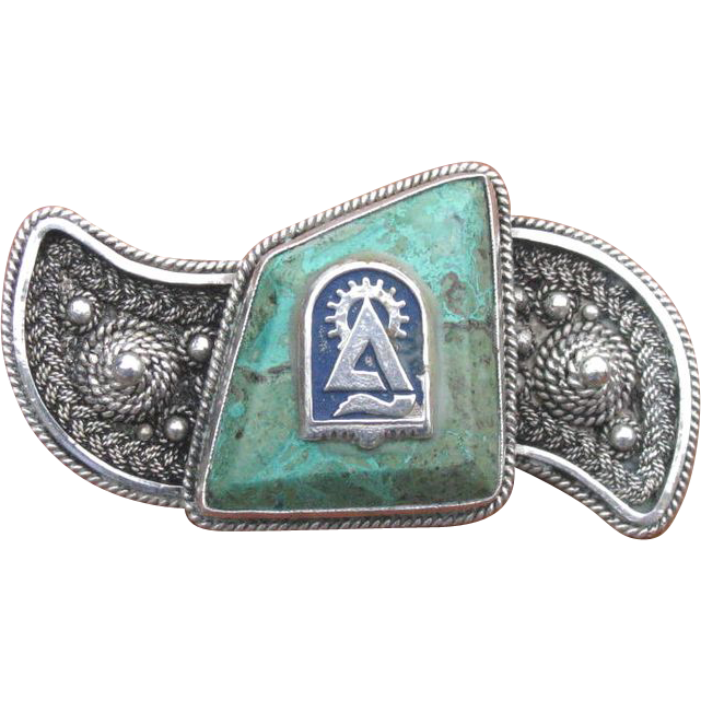 Vintage Israeli Bezalel Turquoise Sterling Silver Pin Brooch with Technion Emblem