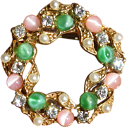 Vintage Pink & Green Moonglow with Rhinestones Circle Brooch