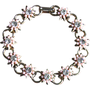 Vintage Rhinestone Daisy Chain Bracelet with Pink Accents