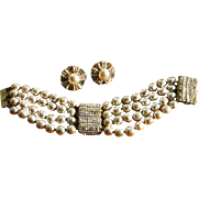 Vintage 1950's Miriam Haskell Signed Bracelet & Earrings Set with Gray Baroque Faux Pearls and Rhinestone Focal