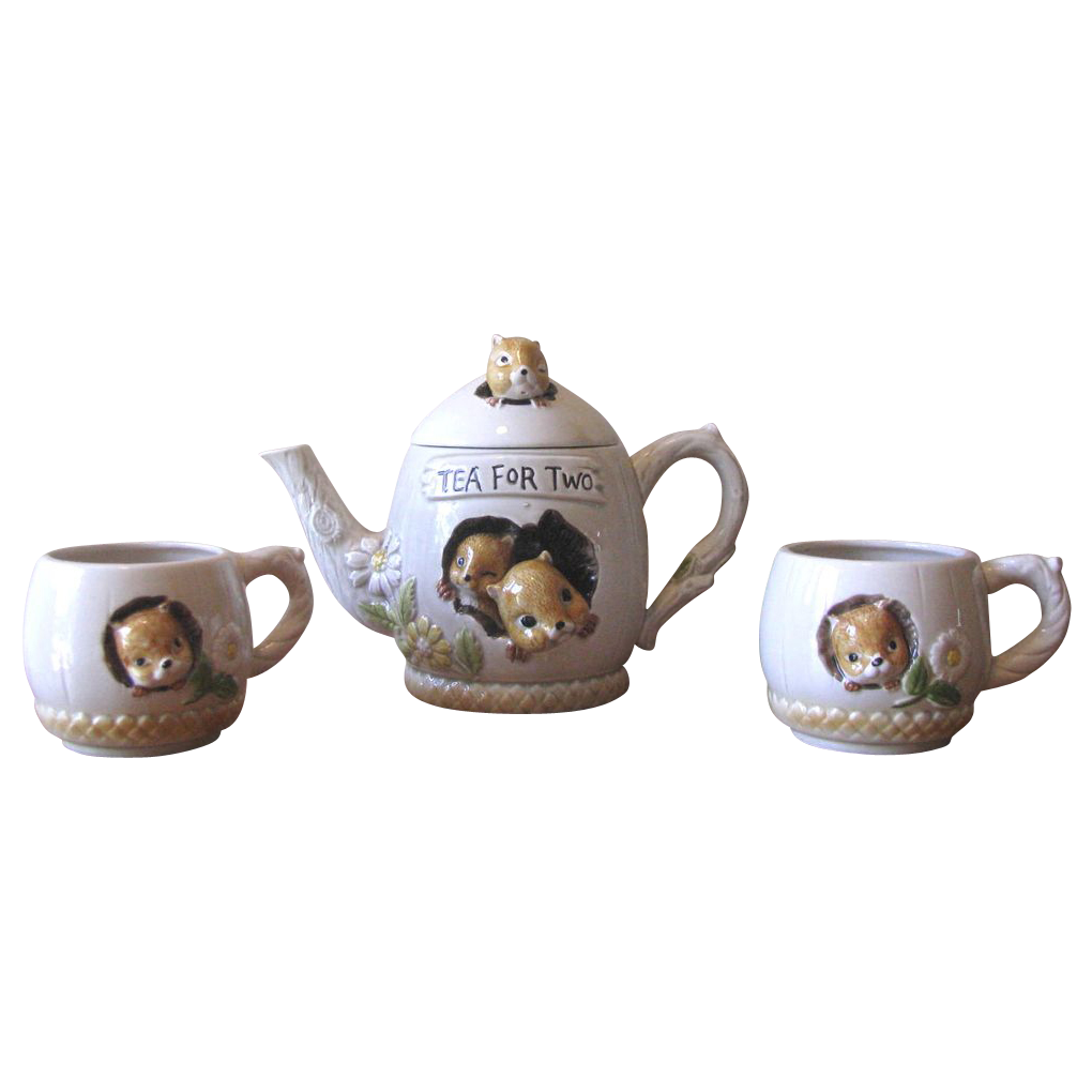 Vintage 1977 Enesco Figural Chipmunk Teapot and Cup Set