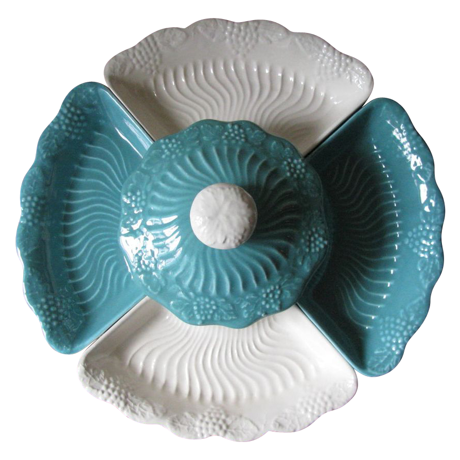 Vintage California Pottery Lazy Susan in Blue & White