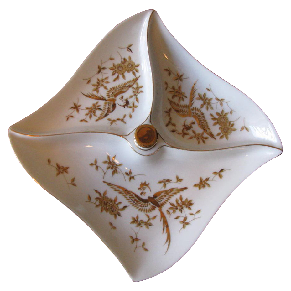 1950's White Porcelain Divided Serving Dish with Gilt Bird Motif - Vintage