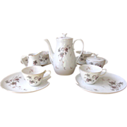 Vintage Leaf Motif Tea Set in Purple & Gray - 11 Piece