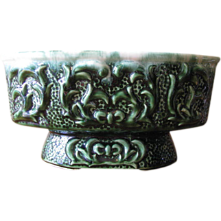 SALE Vintage Green Footed Planter Cachepot with Vine Relief Design