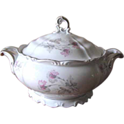 Vintage 1940's Edelstein Bavaria Soup Tureen - Silver Trimmed with Pink & Gray Florals - Maria Theresia, Belfonte