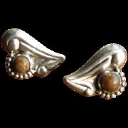 Vintage 1930's Mexican Silver Heart Earrings