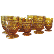 Vintage Amber Cubist Glassware by Indiana Glass Co. - Set of 8