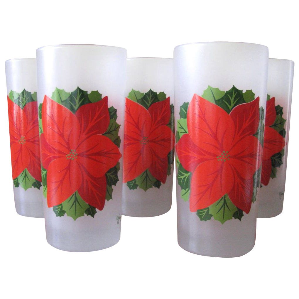 Vintage Poinsettia Tumbler Glasses from Georges Briard - Set of 8