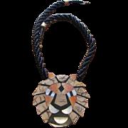 Vintage 1980's Inlaid Stone & Laminate Lion Pendant Necklace