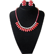 Vintage 1950's Red Glass and Rhinestone Choker Necklace & Earrings Set