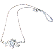 Vintage Sterling Silver Lady Face Pendant Necklace