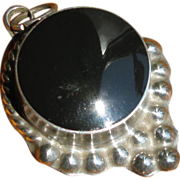 Vintage Taxco Mexican Sterling Silver & Onyx Pendant