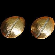 Vintage Nettie Rosenstein Rhinestone and Brushed Goldtone Earrings