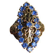 Vintage Blue Rhinestone Filigree Adjustable Ring