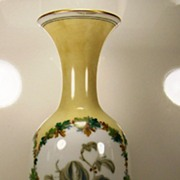 Opaline Vase with Hand-painted Berries and Leaves   ca. 1885