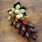 Vintage Carved Stone Fruit Grapes, Circa 1960