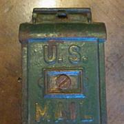 Vintage Cast Iron U.S. Mail Box Bank, Circa 1900