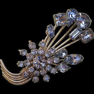 Blue Rhinestone Flower Bouquet Silvertone Brooch