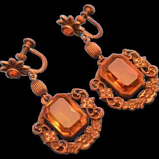 1920s Czech Style Brass and Orange Glass Stone Screwback Earrings