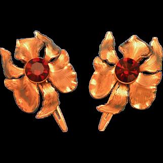 Pair of Lady Ellen Orchid Flower Goldtone Hair Clips Klippies