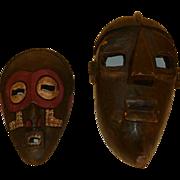 2 Carved Wood Masks - Ghana & S. Africa
