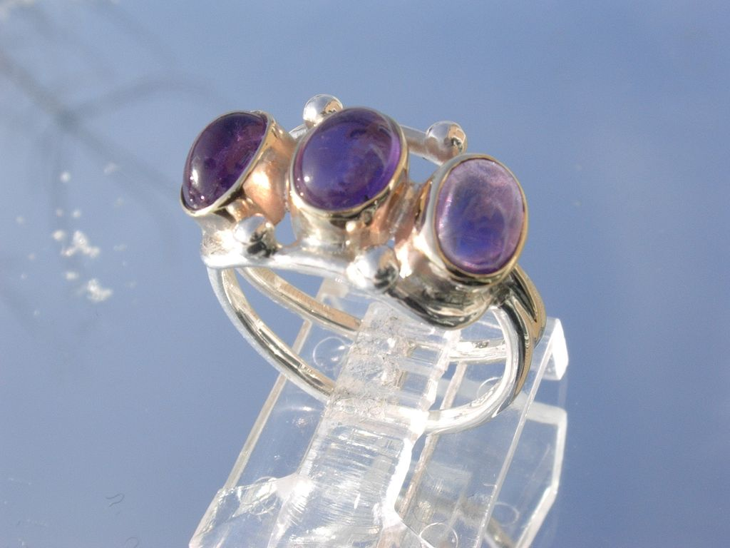 Sterling/9kt Yellow Gold Wisteria Purple Triple Amethyst Ladies Ring