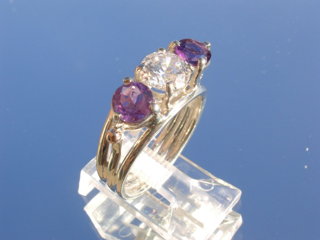 Sterling/9kt Amethyst and Cubic Zirconia Ladies Ring
