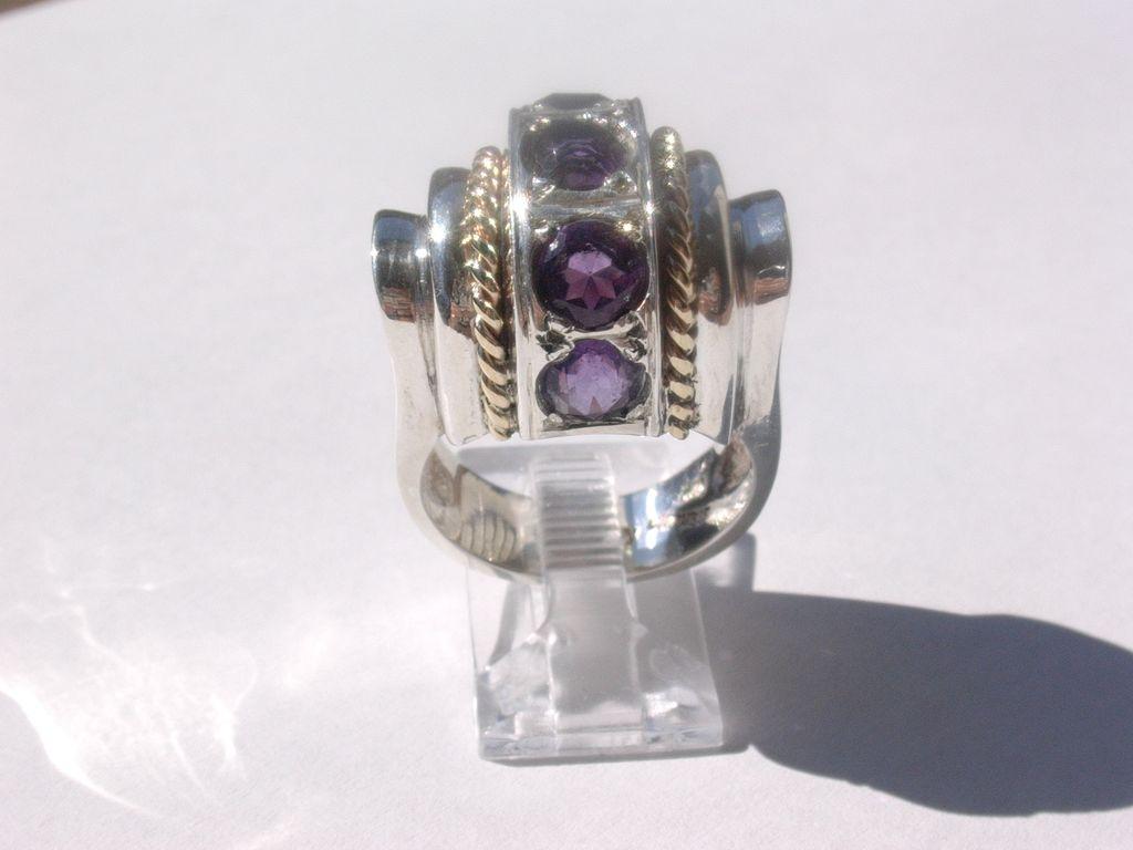 Sterling/10kt: Art Deco Style Multi Amethyst Ring
